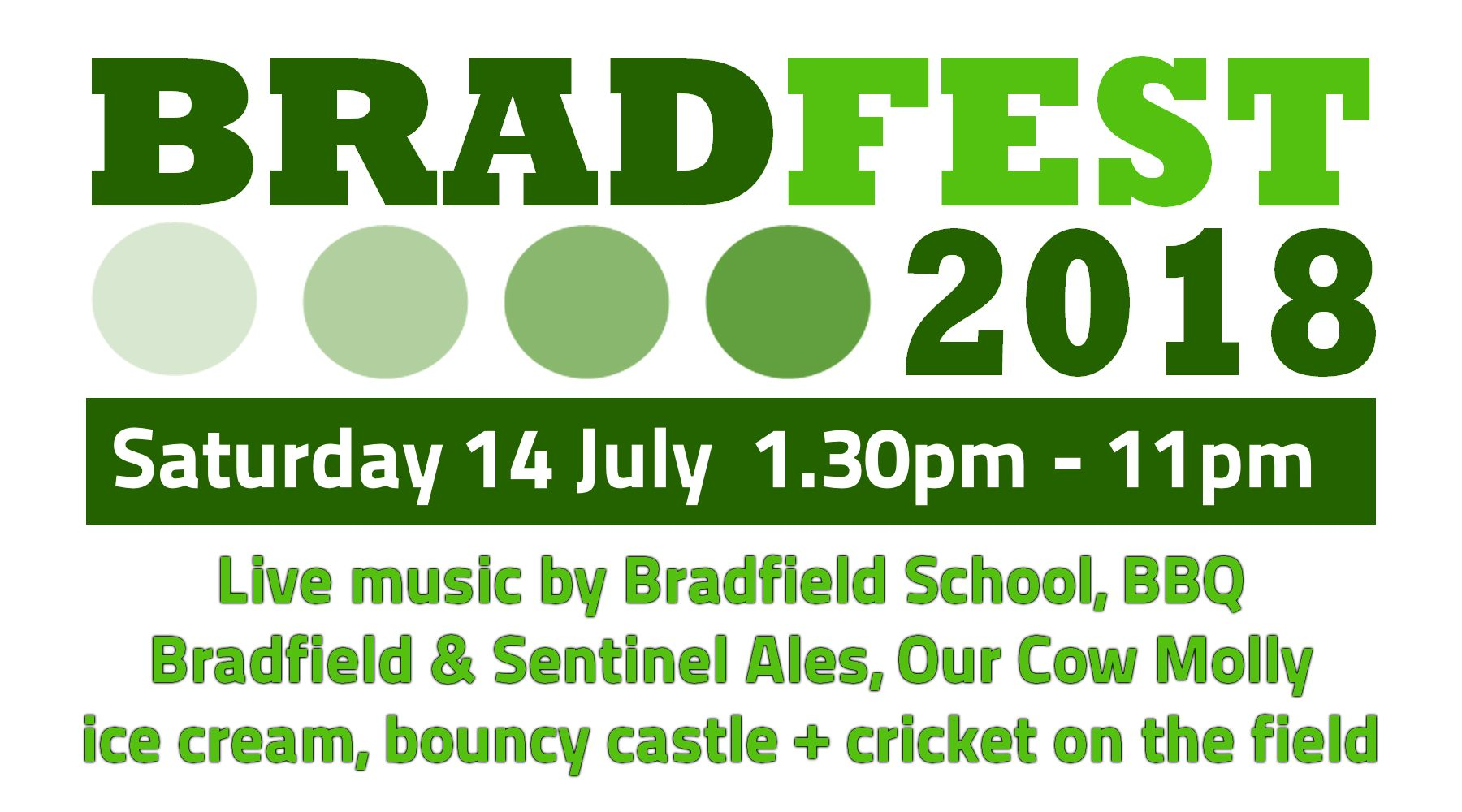 BRADFEST 2018 - Saturday 14th July 2018 - Festival of local music, food and ale in Low Bradfield, Sheffield.